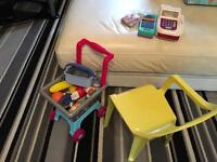 Toy till, shopping basket and seat