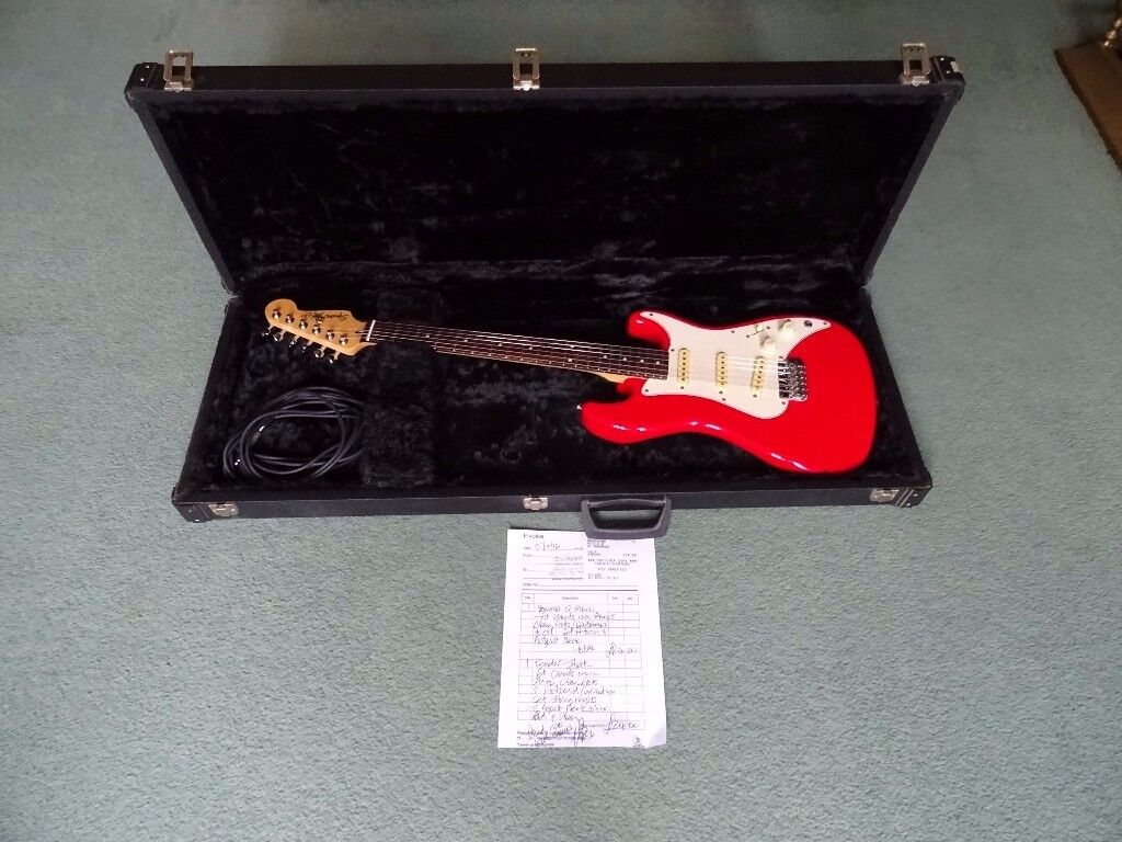 1987 Fender Squier Strat Electric Guitar With Original Hardcase