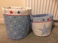 2 storage baskets/buckets children/nursery