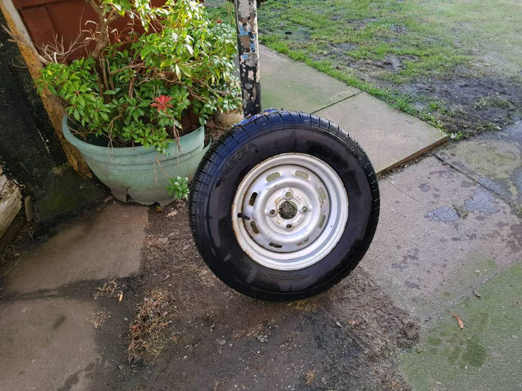 Brand new caravan or trailer wheel and tyre
