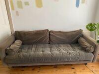 MADE 3 Seat Grey Velvet Scott Sofa for Sale