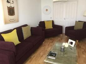 SOFA WORKSHOP. Immaculate X1 Large 3 Seater, x1 Snuggle Chair & x1 Single Chair *Sold Pend Collect*