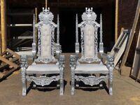 2x BRAND New Lion King Throne Chairs (155cm) - Silver leaf Wedding Luxury French Italian Furniture