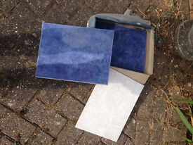 small quantity blue marbled ceramic tiles. FREE