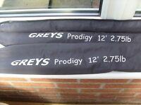 GREYS PRODIGY CARP RODS X 2