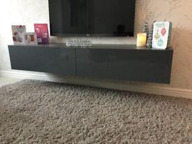 Grey gloss floating tv unit
