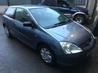 Honda civic s 1.4 petrol 02-plate! 12mths mot! 126000 miles! Good runner and drive! dent on wing!!
