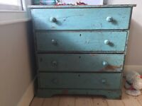 Distressed vintage blue painted chest of draws