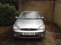 Silver Ford Focus (2002) in very good condition, clean interior, 6 months MOT.