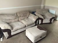 3 seater with armchair and footstall