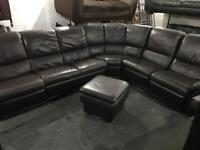 Stunning very large brown leather corner sofa with recliners at each end