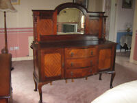Antique Victorian mahogany bevelled mirror back sideboard.