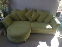Green DFS 4 Seater Lounger and 2 Seater Sofa bed