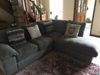 Stylish Good Size Corner Sofa In Grey