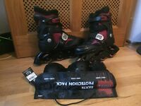 Inline skates (UK size 7) in good condition with skate protection pack