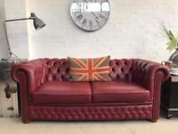 Stunning burgundy Chesterfield sofa. Can deliver