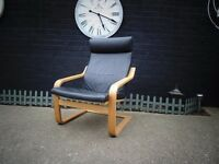 IKEA POÄNG ARMCHAIR BLACK LEATHER CHAIR IN EXCELLENT CONDITION