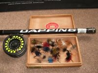 5m or 16'4 Dapping fly fishing rod with fly reel and box of Dapping flies