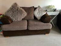 X2 brown suede 2 seater sofers