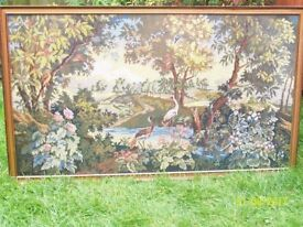 TAPESTRY PICTURE OF BIRDS IN A LAKELAND SCENE WIDTH 136 CM HIEGHT 80 CM