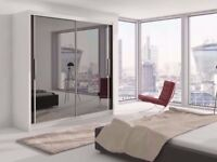 Bedroom Furniture Slider Large Double Wardrobe With 2 Sliding Doors Mirrored 120 150 180 203