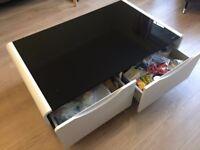 Modern Presta Black Glass Coffee Table with 2 drawers - 36cmH x 100cmW x 60cmD