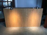 Ikea twin oak wall cupboard with lights