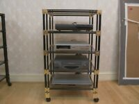 Black and Gold Storage Glass Shelves with Wheels (5 levels)