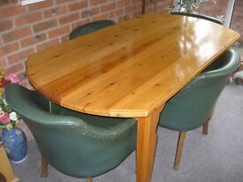 Solid pine handmade dining table and 4 retro chairs
