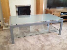 Rectangular glass-top coffee table