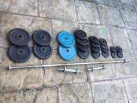 Cast iron weights set 85kg with dumbbells and solid Bar