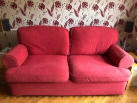 3 seater fabric sofa with two full sets of covers in good condition