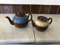 Vintage large and small teapots