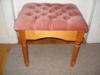 Pine stool with pink cushioned seat