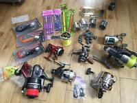 Fishing Joblot line reels spool weight and lure plus brand new Okuma metaloid md50