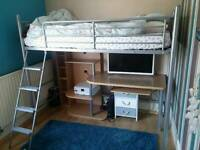 Cabin bed with desk and entertainment unit