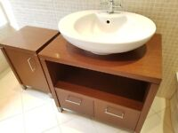Porcelanosa Vanity unit, counter top basin & freestanding storage cupboard