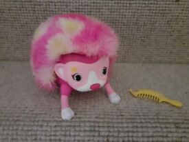 ZOOMER HEDGIEZ TUMBLES ~ INTERACTIVE HEDGEHOG TOY ~ PINK FUR WITH YELLOW SPOTS ~ AS NEW ~ £4