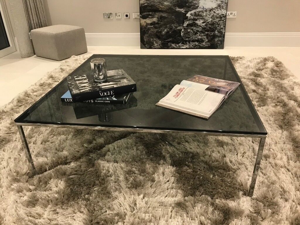 Large Natuzzi Coffee Table Smoked Grey Glass With Chrome Cross Legs New Used In