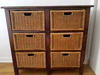 Wicker and wood storage unit