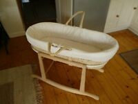 Moses Basket with Rocking Cradle Base, Matress and Quilted Side Covers, Very Good Condition