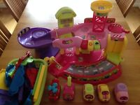 VTech Pink Toot-Toot Garage, Deluxe Track, Extra Cars and Helicopter - Excellent Condition