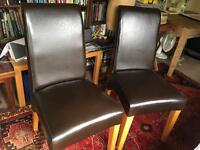 LEATHER OAK BROWN DINING CHAIRS SET 2