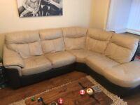 Cream leather corner sofa with swivel chair