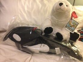 2 Brand New large soft toys, whale and polar bear