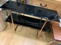 mark webster black and gold 2 shelf console table