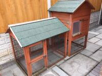 Extra large double storey rabbit hutch with secure run