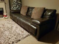 VIOLINO italian leather 3 seater brown sofa