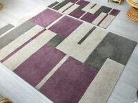 Pair of Purple/Grey/Cream rugs