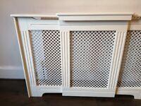 Large White wooden lattice Radiator Cover
